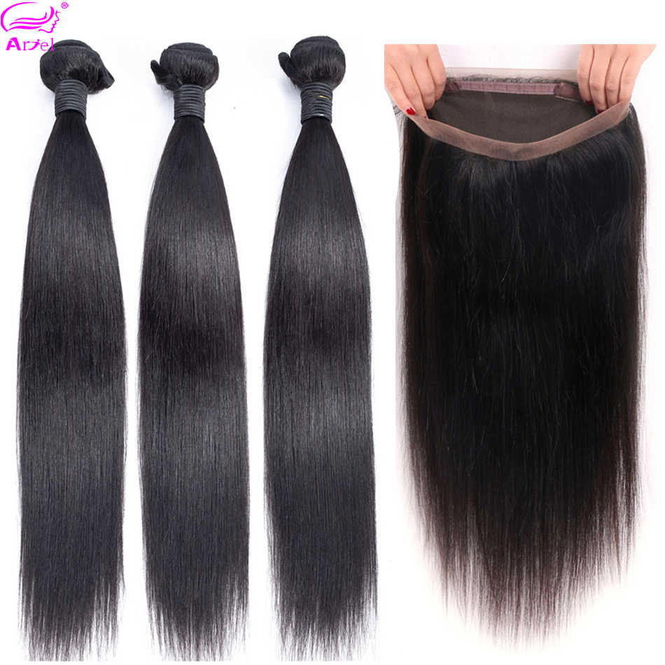 Ariel Straight Hair 3 Bundles With 360 Frontal Closure Peruvian Hair Weave Bundles Non Remy Human Hair Bundles With 360 Closure