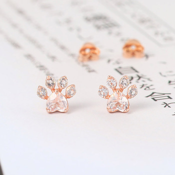 LAMOON Cat Paw 925 Sterling Silver Stud Earrings For Women Natural Rose Quartz 18K Rose Gold Plated Fine Jewelry EI040-3