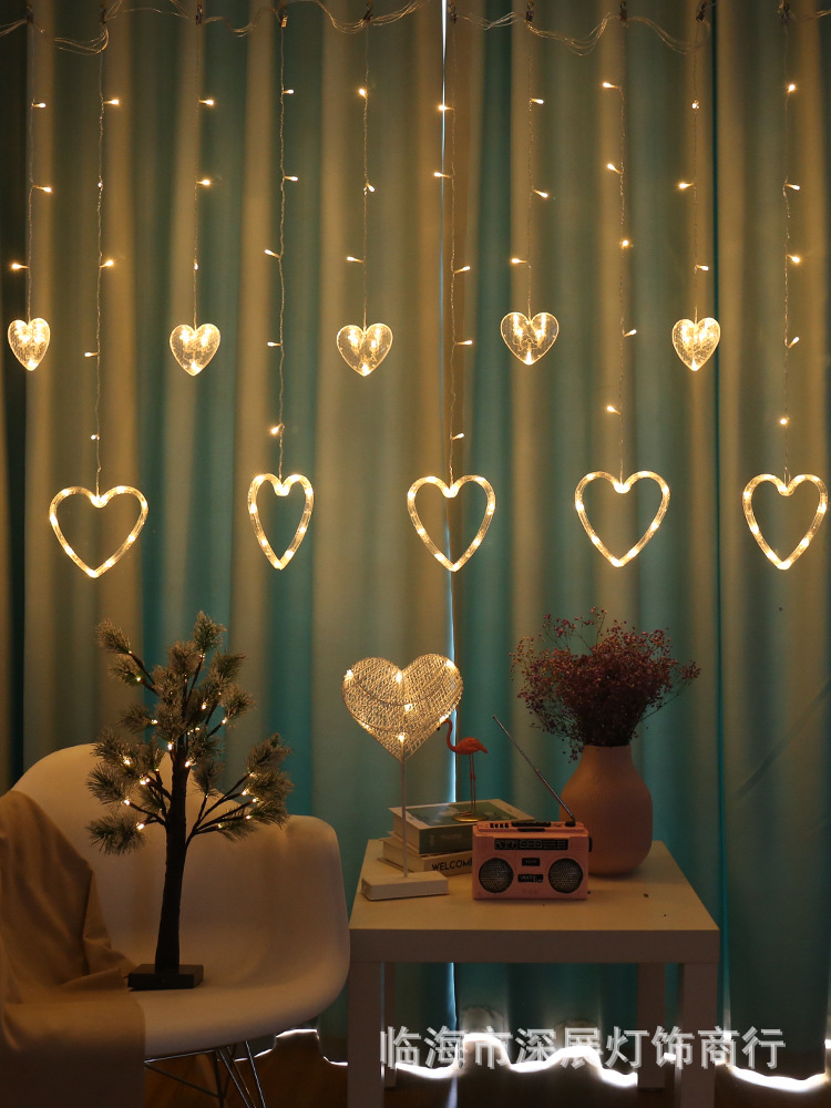 Hot Selling LED Colorful Lights Heart-Shaped Icicle Lights Indoor Room Curtain GIRL'S Romantic INS Decorative Lighting Chain
