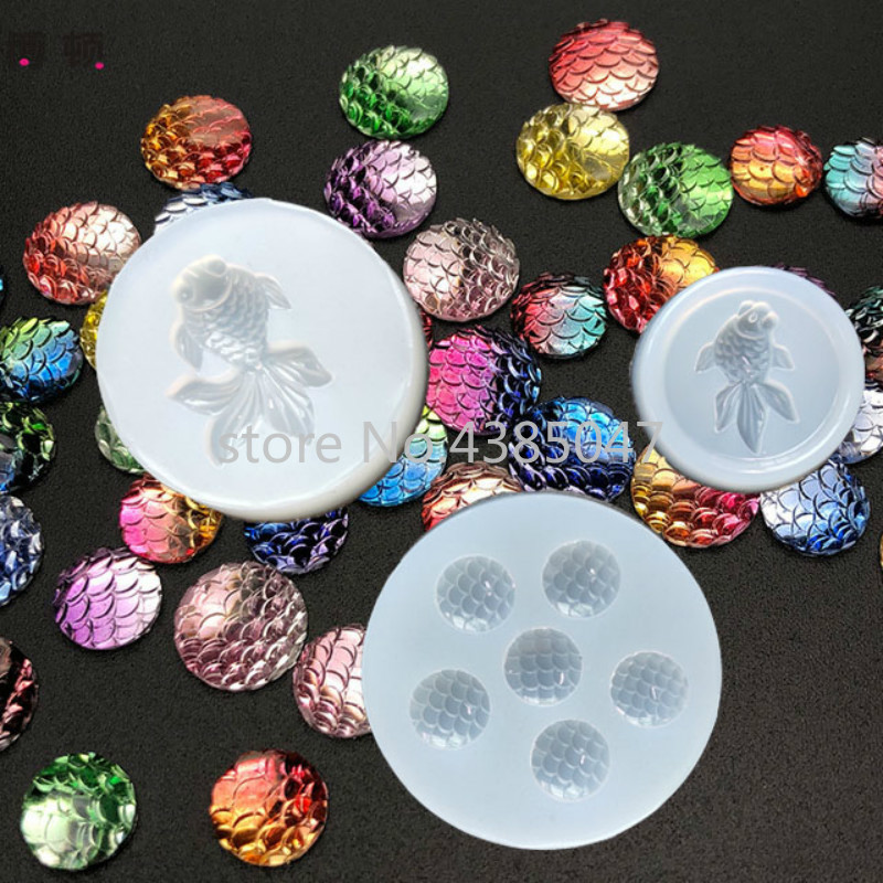 1PC Fish Scale Fish Expoxy Necklace Jewelry Pendants Tools Crystal Scale Jewelry Resin Molds For Jewelry Making Tool