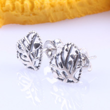 Original 925 Sterling Silver Tree Of Life Stud Pan Earrings  Creative Life Tree Studs Fashion Ear Studs For Women Gift Jewelry eudora 925 sterling silver tree of life necklace cloud tree pendant fortitude design jewelry for women happy birthday gift d449