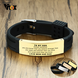 Vnox To My Son Love Mom and Dad Courage Inspirational Wristband Bracelets Custom Personalize Engrave Birthday Gifts