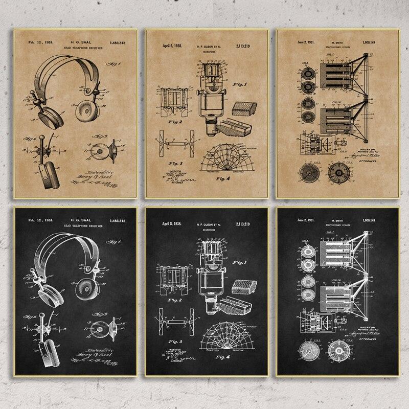 Музыка запись патент старинные постеры и принты микрофон наушники Blueprint художественная живопись холст Настенный декор музыкальный подарок|Рисование и каллиграфия|   | АлиЭкспресс