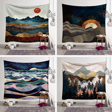 Colorful  Sun Mountain Tapestry Wall Hanging Hippie Wall Cloth Tapestry Backdrop Decor Psychedelic Tapestry Wall Carpet hanging mountains boat lake wall tapestry
