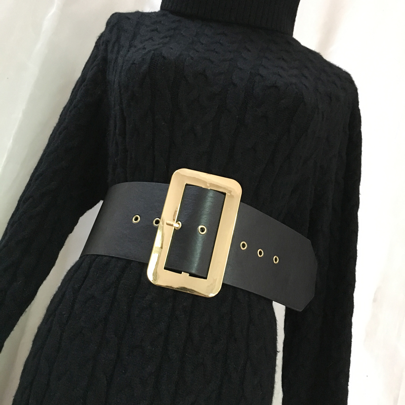 Vintage Metal Square Buckle Belt Female Fashion Black Pu Leather Wide Belt Ladies Elegant Waist Sash For Autumn Winter