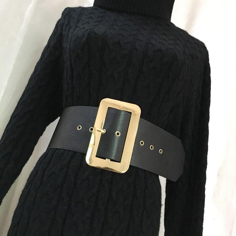 Vintage Metal Square Buckle Belt Female Fashion Black Pu Leather Wide Belt Ladies Elegant Waist Sash For Autumn Winter