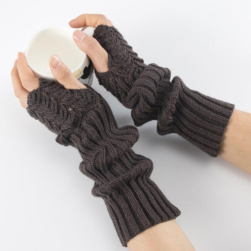 2019 Knitting Half Finger Mittens Gloves Fish Scales Pattern Warm Men Women Arm Set Arm Sleeve Autumn Arm Wrist Sleeve Holder