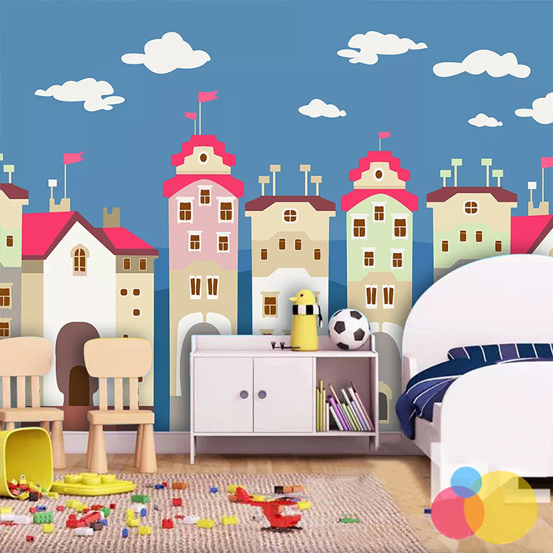 PVC Self-Adhesive Waterproof Wallpaper 3D Hand-painted Cartoon House Children's Bedroom Background Wall Sticker Removable Poster