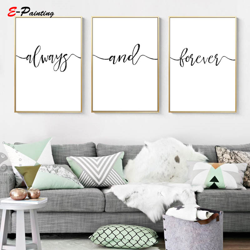 Modern Wall Painting Canvas Always And Forever Sign Minimalist Rustic Wall Art Love Couple Bedroom Decor Christmas Gift Painting Calligraphy Aliexpress