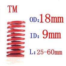 O molde médio vermelho da compressão de carimbo da espiral da carga de 1 pces morre a mola od = 18mm, diâmetro interno = 9mm comprimento h = 20-60mm