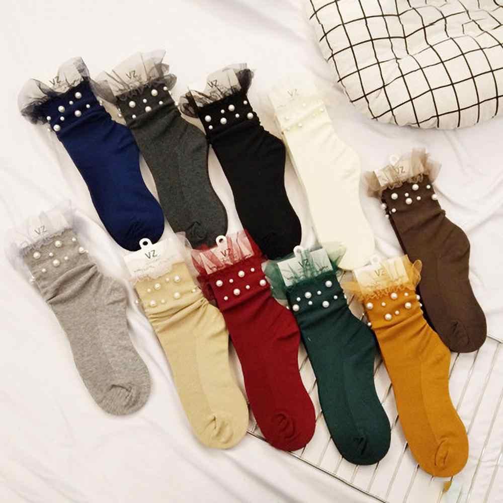 เด็กของถุงเท้าผ้าฝ้ายการ์ตูนสบาย Wmen ถุงเท้ายืดกลางหลอดถุงเท้าสไตล์อ่อนเยาว์ Socquette Girls Meias Soxs