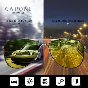 Image 2 - Очки солнцезащитные CAPONI мужские в металлической оправе, модные солнечные аксессуары для вождения, дневное и ночное видение, зеленого и желтого цвета, UV400, RY8722