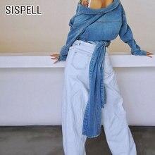 Женская джинсовая куртка sisipell с воротником лацканами и длинным