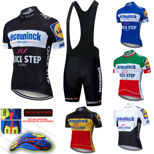 2020 Pro Team Quick Step Cycling Jersey 20D Bib Set Bike Clothing Ropa Ciclism Bicycle Wear Clothes Mens Short Maillot Culotte