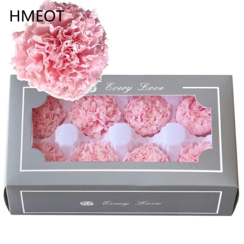 8 pièces 4-5cm éternelle fleur éternelle oeillet préservé tête de fleur saint valentin fête des mères boîte cadeau Bouquet accessoires