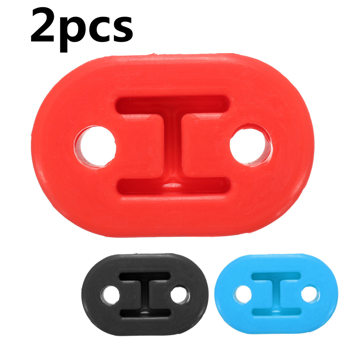 2pcs 2 Holes Diameter 11mm Universal Car Rubber Exhaust Tail Pipe Mount Brackets Hanger Insulator
