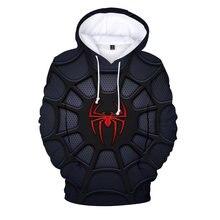 2020 модная толстовка с капюшоном и 3d изображением паука Свитшот