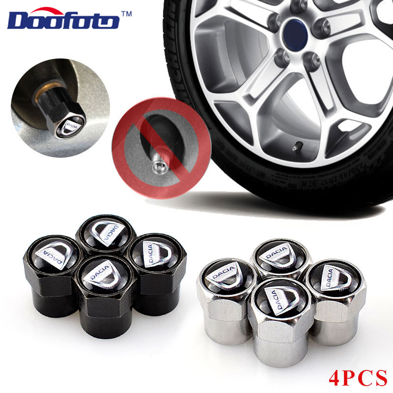 Doofoto 4x Car Wheel Valve Caps Tyre Tire Stem Cover For Dacia Duster Logan MCV Sandero Stepway Dokker Lodgy Accessories Styling