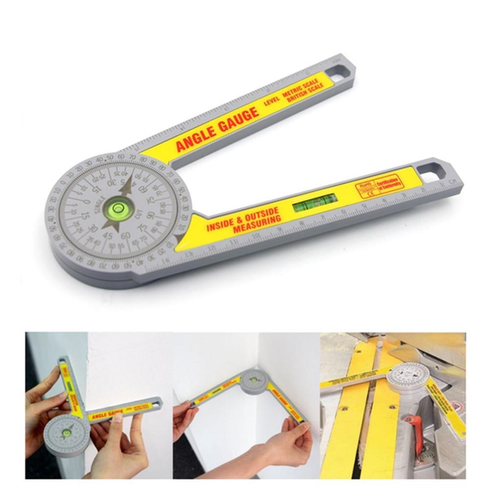 Rapporteur de scie à onglet 360 degrés avec nivellement bulle Angle Finder jauge goniomètre rotatif mesure règle Angle niveau mètre