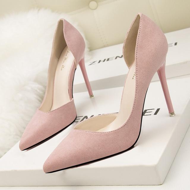 Suede Pointed Toe High Heels 4