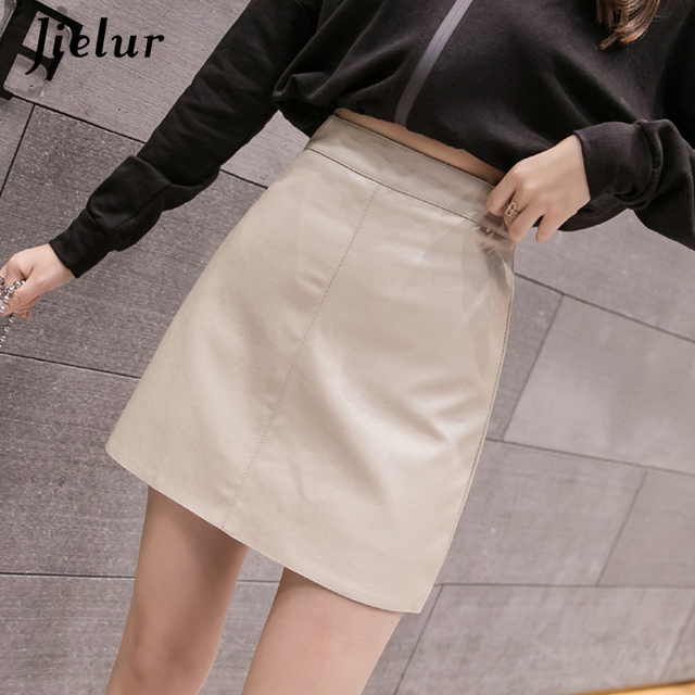 Jielur Leather Skirt Autumn Winter New Korean High Waist Mini Skirt Female 4 Colors Chic Black Sexy Saia A-line PU Skirts Women 1