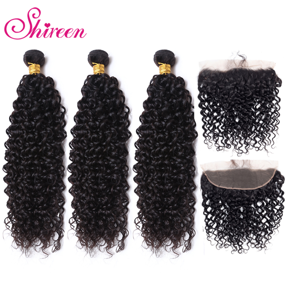 13x4 Lace Frontal Closure Kinky Curly Peruvian Hair Weave 3 Human Hair Bundles With Frontal Closure Remy Shireen Hair Products image