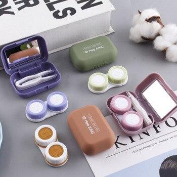 Minipintura de goma esmerilada para mujer, Estuche para gafas de contacto cuadrado con espejo, estuche para lentillas lentes de contacto de ojos de color