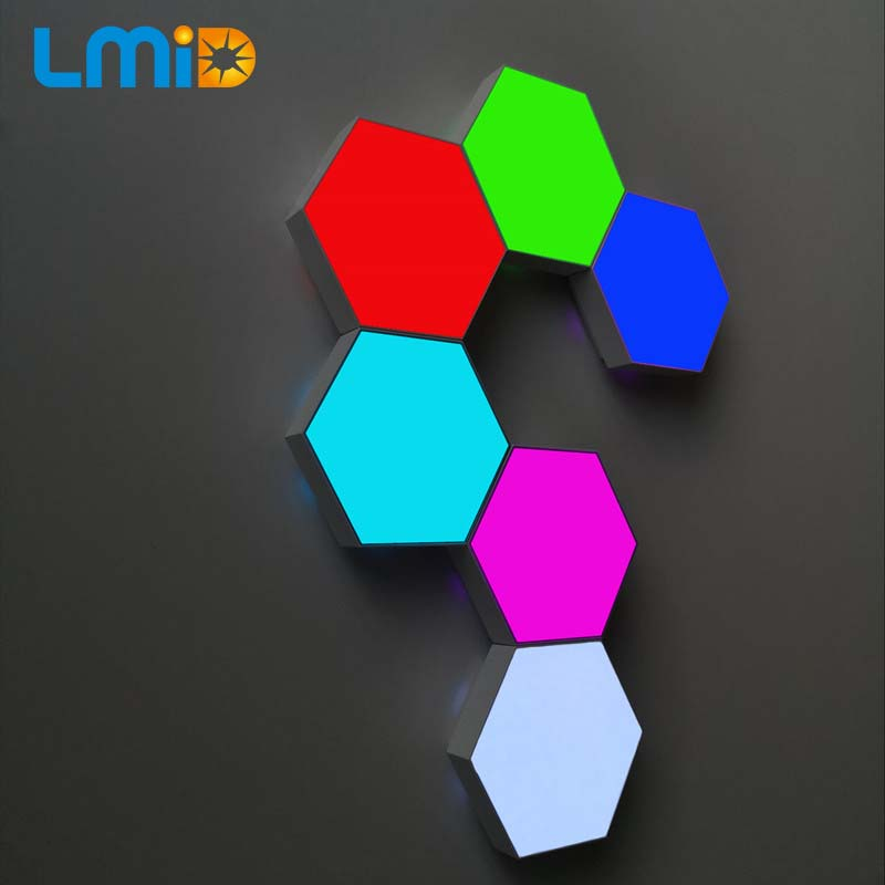 Quantum Lamp RGB LED Hexagonal Modular Touch Sensitive Quantum Lighting Night Light  Hexagons Creative With Controller