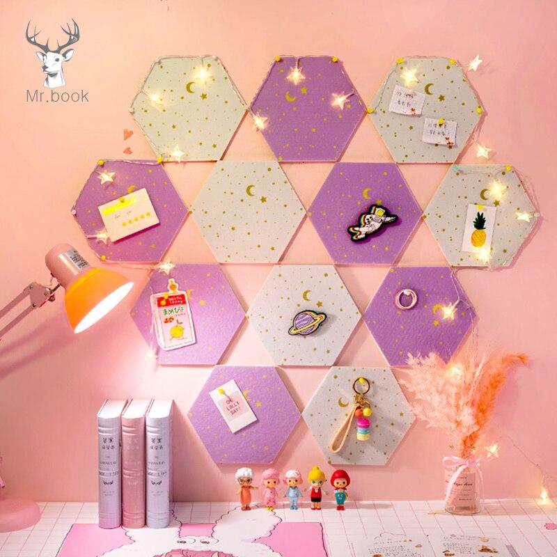7Pcs 3D Hexagon Moon Star Felt Board Letter Message Board Photo Display DIY Art Wall Decoration Office Planner Schedule Board 1