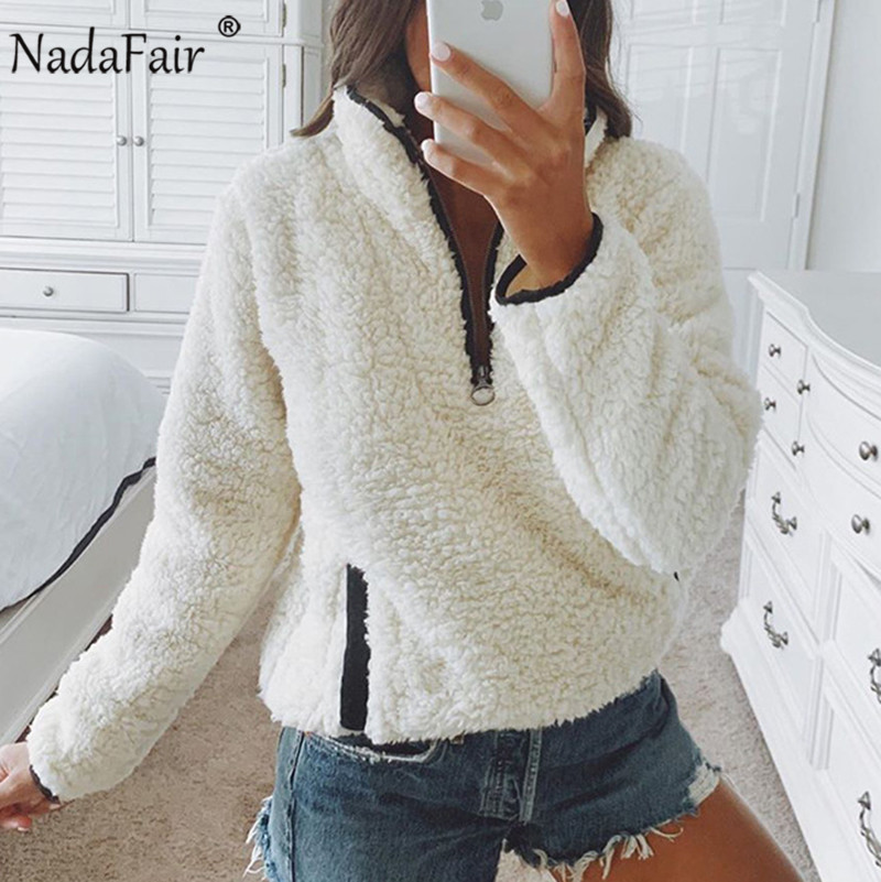 Nadafair 2019 Winter Fluffy Sweater Casual Fleece Warm Oversized Sweater Women Fuax Fur Christmas Pullovers Winter Coat Ladies