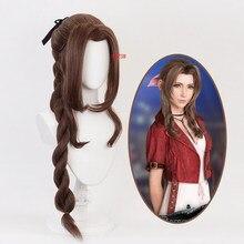 Jogo final fantasia vii aerith gainsborough cosplay peruca menina hairpiece 100 cm pigtail feminino ondulado encaracolado franja cabelo periwig