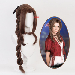 Game Final Fantasy VII Aerith Gainsborough Cosplay Wig Girl Hairpiece 100 cm Pigtail Women Wavy Curly Bangs Hair Periwig