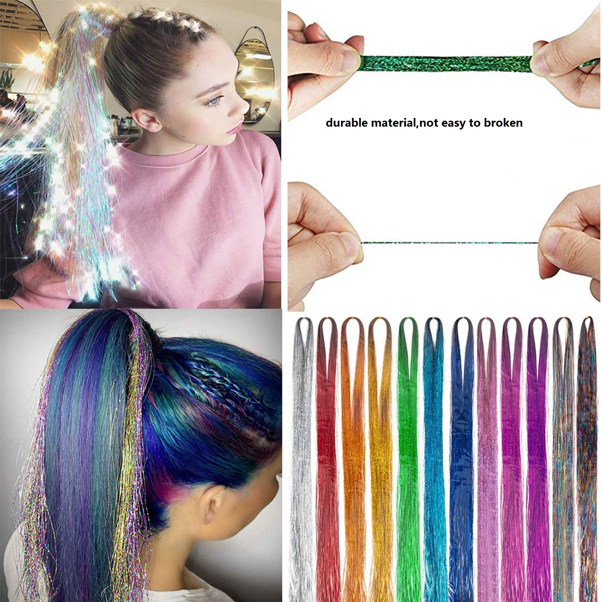 Tinsel Sparkle Synthetic Hair Extension 150 Strands 100cm Holographic Glitter Colorful Laser Silk Rainbow For Girls And Party