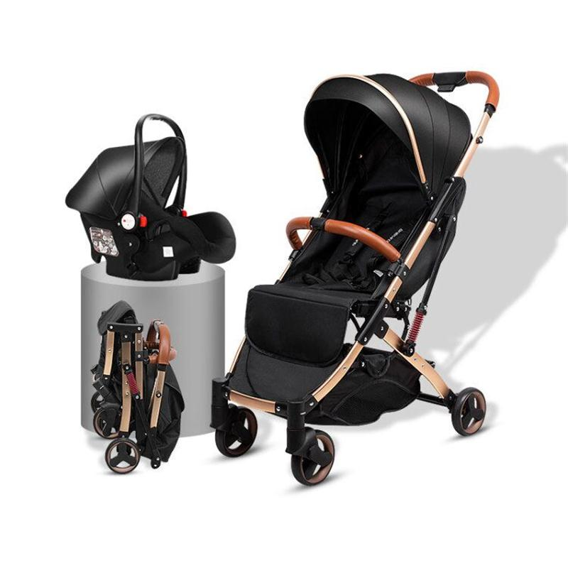 lightweight  stroller with car seat 3 in 1 baby stroller Portable newborn carriage hand push umbrella car free shipping