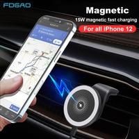 FDGAO-soporte magnético para cargador inalámbrico de coche, 15W, para iPhone 12 Pro Max Mini tipo C, carga rápida USB, funda magnética para teléfono