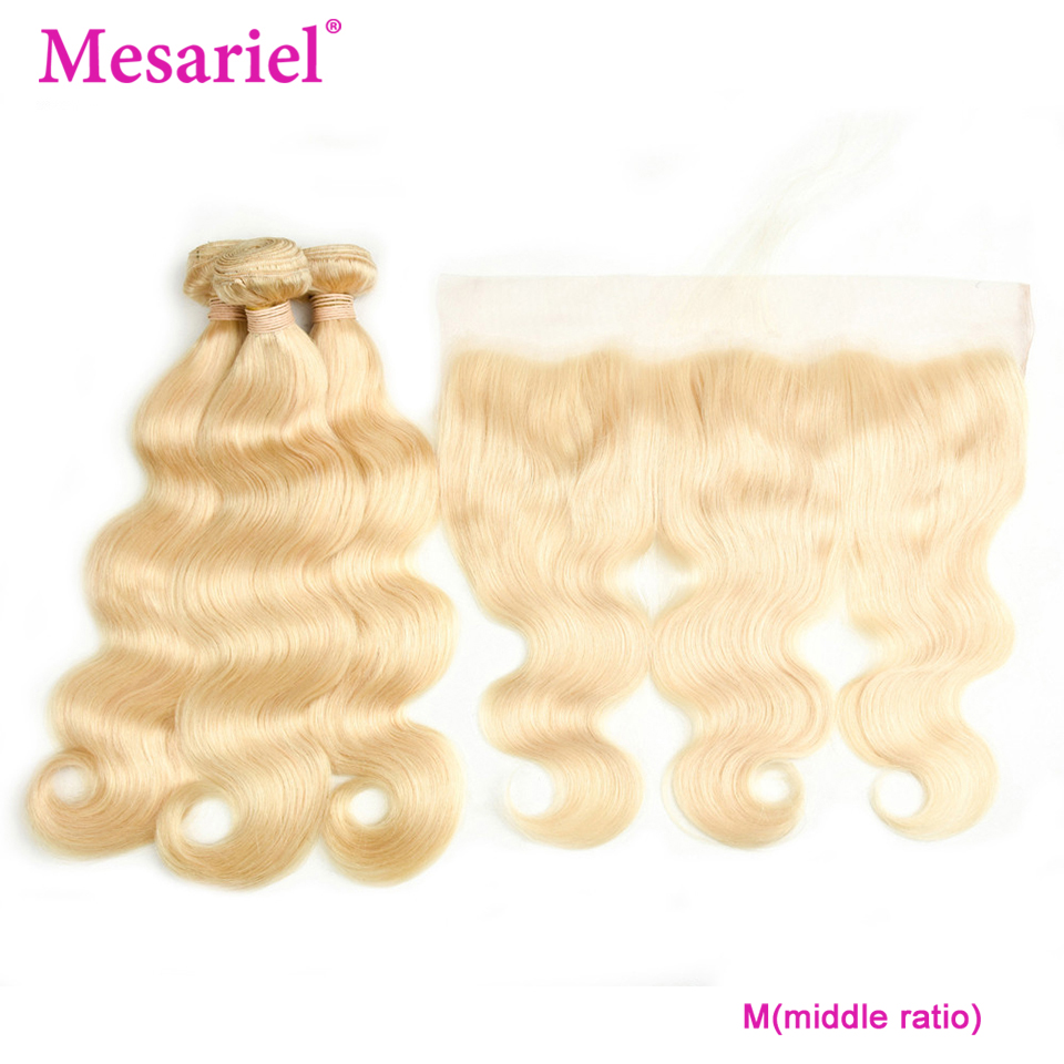 Mesariel M Blonde Human Hair Bundles With Frontal M Remy Malaysian Body Wave Hair Weave 3 Bundles With Lace Frontal Closure