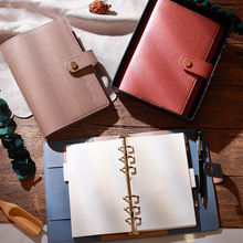 A6 PU 6-Ring Loose-Leaf Notebook Snap Buckle Hand Account Notepad Stationery Office With Inner Pages 156 Pages