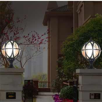 OUFULA Outdoor Post light Patio Modern LED Round Waterproof Pillar Lighting For Porch Balcony Courtyard Villa