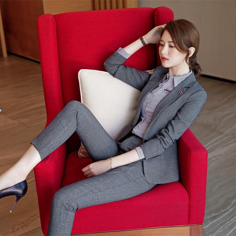 Fashion Luxury Female Elegant Women's Pants Suit Trouser Dress Blazer Costumes Jacket Suits Ladies Office Wear Uniforms  2pieces