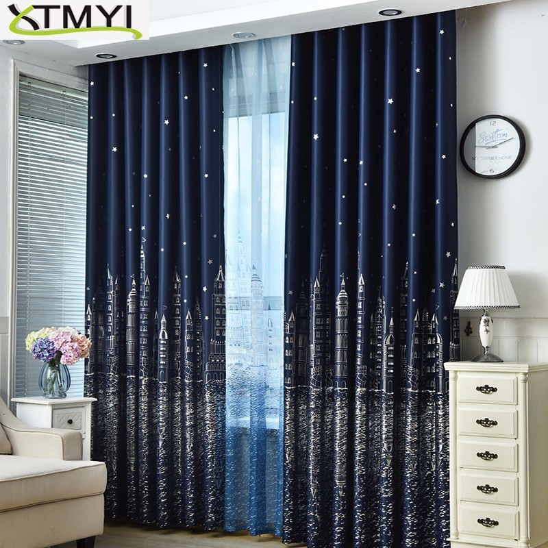 Curtain For Living Room Children Bedroom Cartoon Sea Castle Printed Voile Curtain Kids Curtains Cloth Tulle Cortinas
