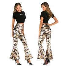Женские брюки в английском стиле, длинные брюки с оборками, обтягивающие брюки с узором пейсли, брюки в стиле диско