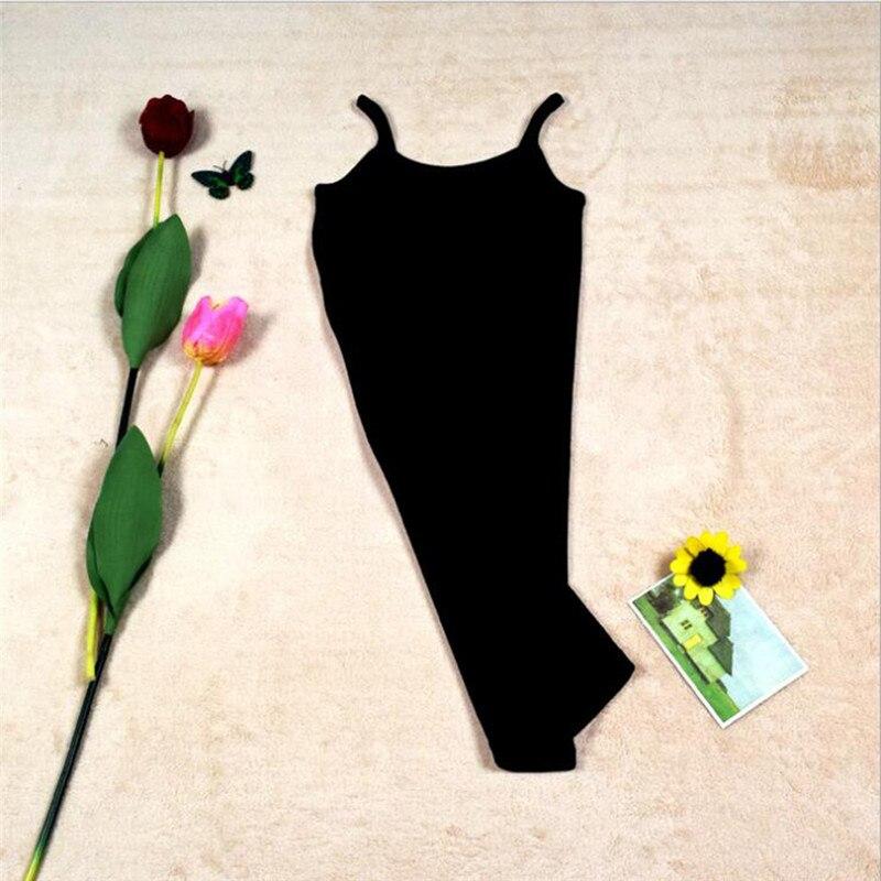 Новинка, Женская эластичная кофточка на бретельках, Длинный топ на бретелях, Мини Короткое платье, летнее повседневное сексуальное платье без рукавов для женщин - Цвет: A-Black