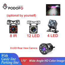 Podofo Car Rear View Camera Universal Backup Parking Camera 4/8/12 LED 8IR Night Vision Waterproof 170 Wide Angle HD Color Image