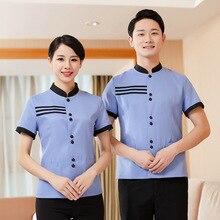Hotel Work Uniform Top Men Women Housekeeping Cleaning Summer Short Sleeve Breathable Striped Pattern Greaseproof Uniform Top