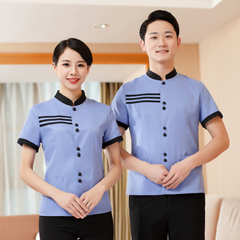 Hotel Work Uniform Top Men Women Housekeeping Cleaning Summer Short Sleeve Breathable Striped Pattern Greaseproof - discount item  20% OFF Work Wear & Uniforms