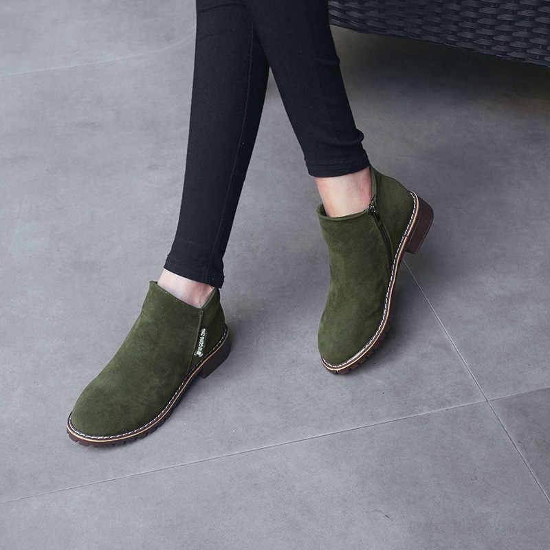 YENI Kadın Martin Çizmeler Sonbahar Kış Çizmeler Klasik Fermuar Kar yarım çizmeler Kış Süet Sıcak Kürk Peluş Kadın Ayakkabı 35- 40