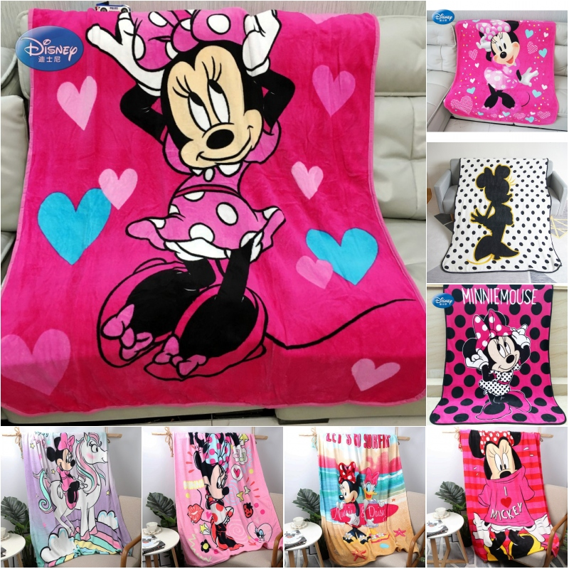 Disney Rose Red Cute Love Heart Minnie Mouse Soft Coral Fleece Baby Blankets Throw On Bed Sofa Couch 117x152CM Kids Girls Gift