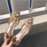 Women's Fashion Gorgeous Court Style Hand inlaid Peal Flats Shoes Fashion Retro Pointed Toe Loafer Party Daily Office Flats