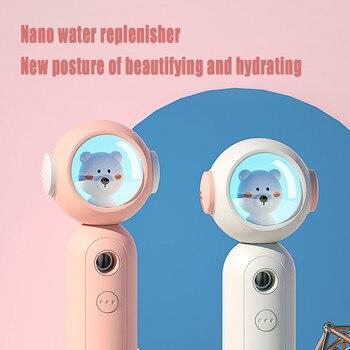 Vaporizador Facial instrumento portátil Oso de moda recargable cómodo humidificador de iones negativos nano instrumento de suministro de agua