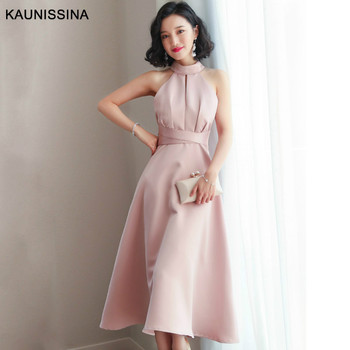 KAUNISSINA Cocktail Dress Party Gown Knee Length Elegant Homecoming Dresses Solid Halter Neck Bow Back Cocktail Robe